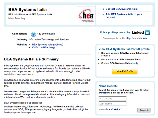Global Search Interactive for BEA Systems - social media marketing